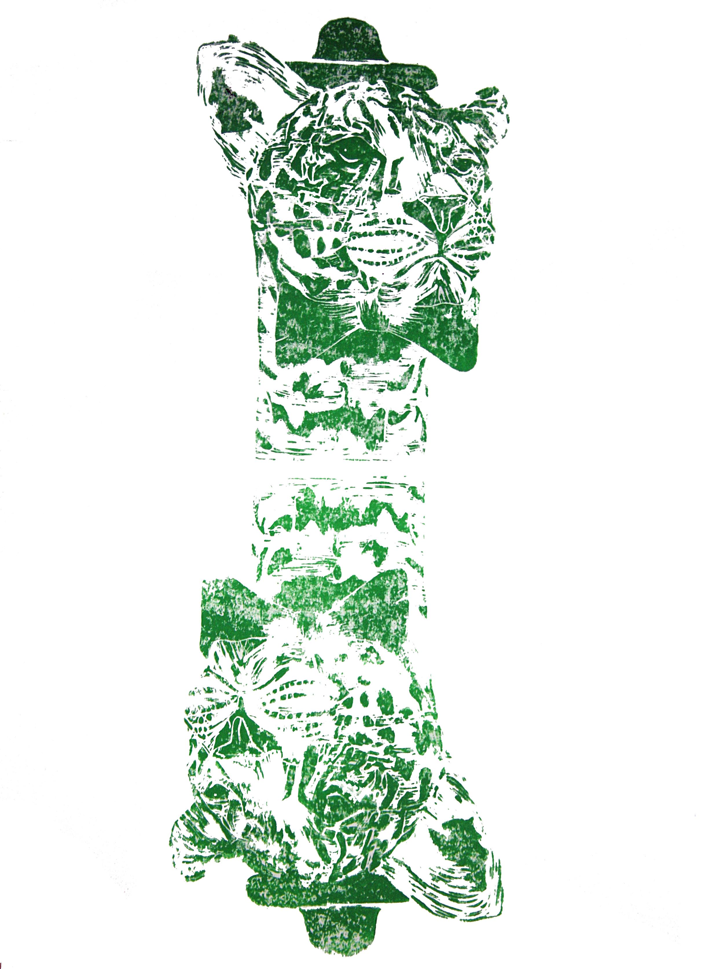 'Mr. Leopard- two heads' (green), on paper, 42cm x 59.4cm,