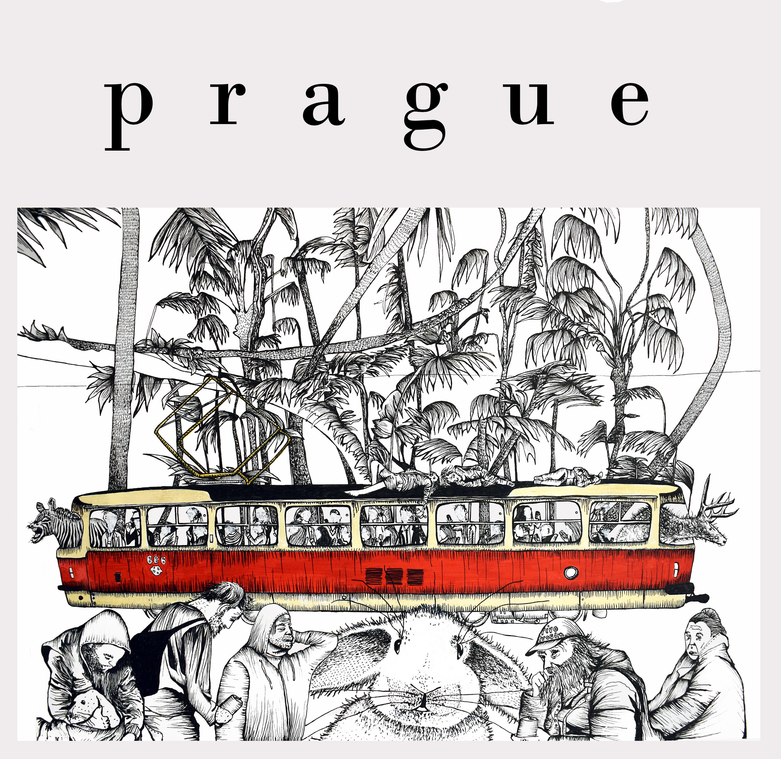 drawings of Prague as an expat artwork of Ali Tareen