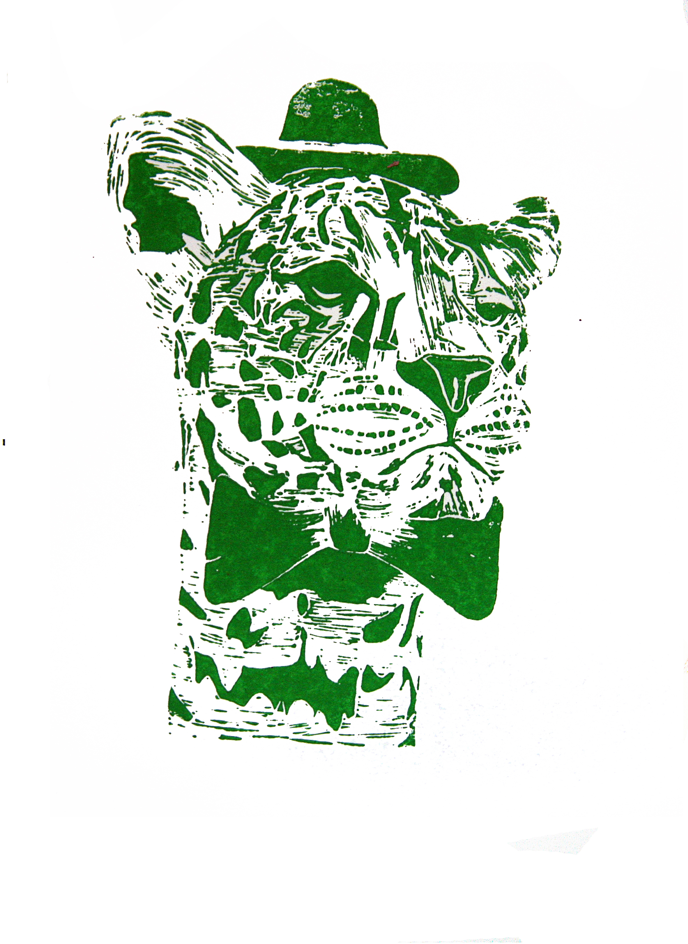 'Mr Leopard' (green), linocut print on paper,  42cm x 59.4cm, 2016