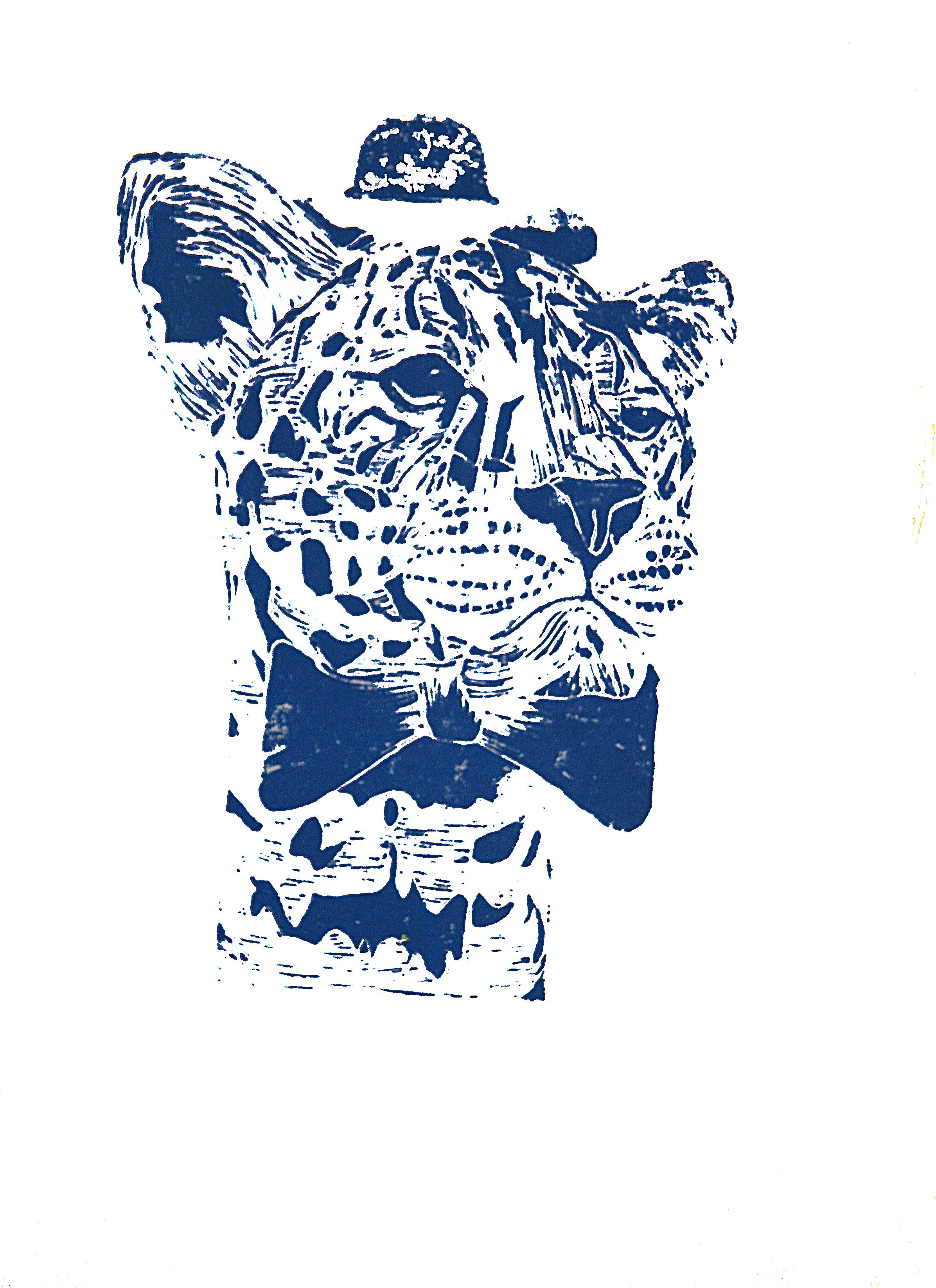 'Mr Leopard' (blue), linocut print on paper,  42cm x 59.4cm, 2016