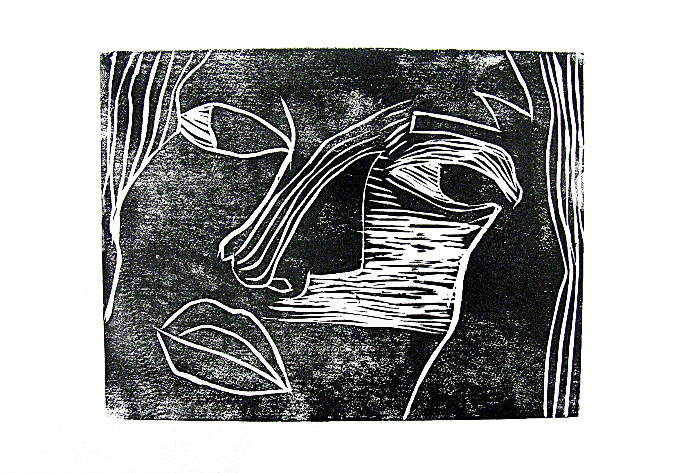 'Study of a girl', (black), linocut print, 2016