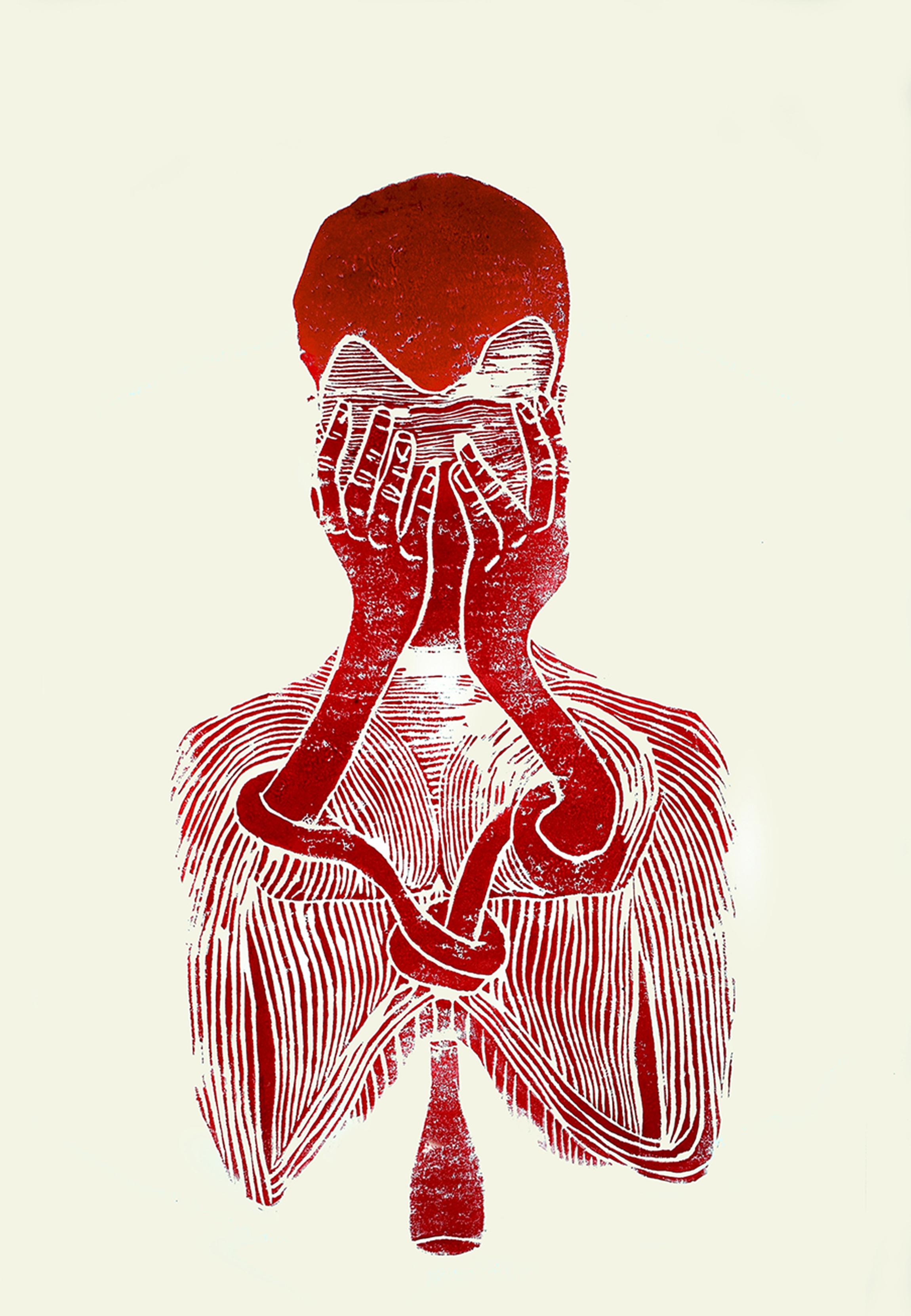 'The soul as an alcoholic', linocut print on paper,  42cm x 59.4cm, 2017