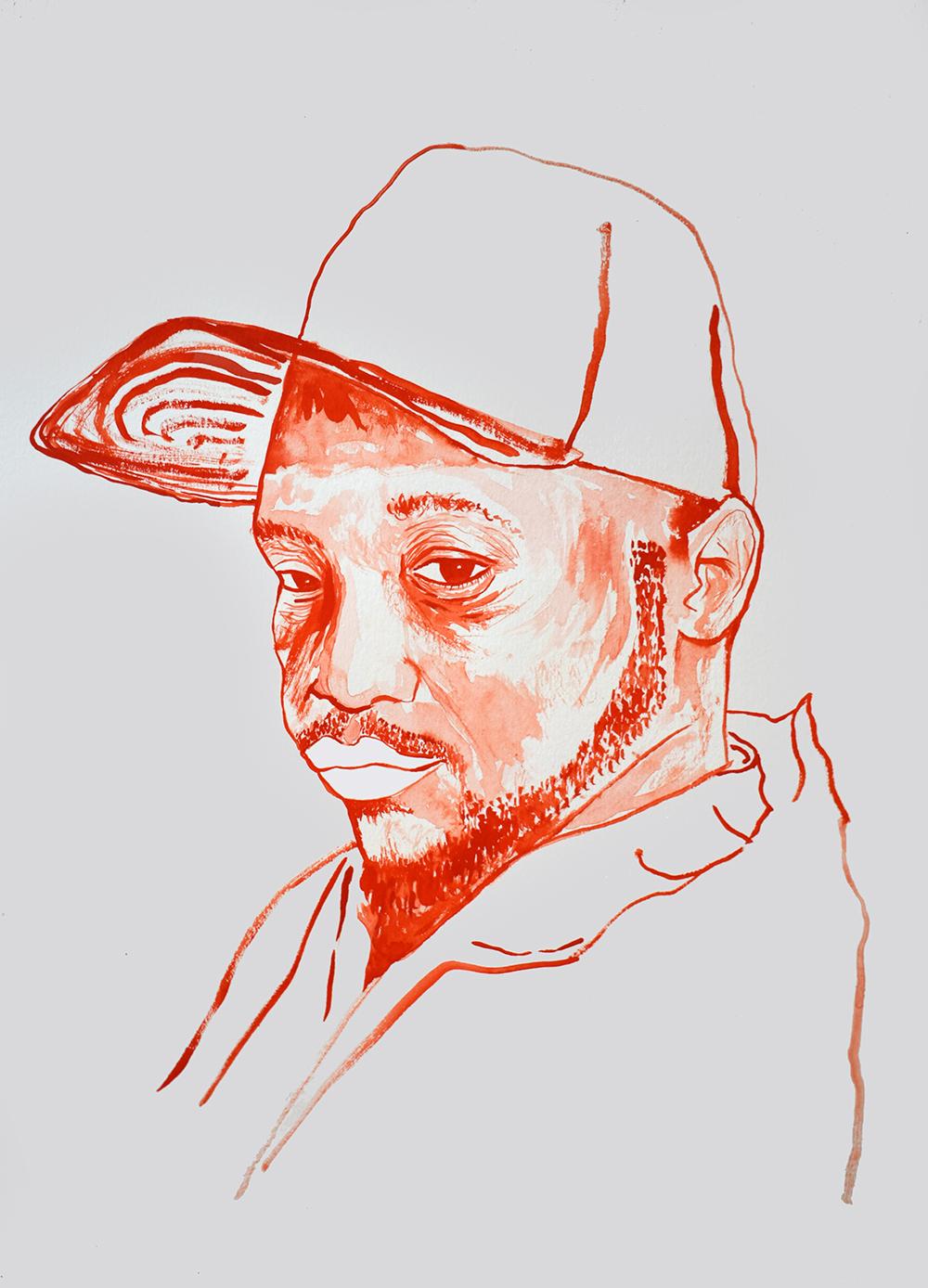 `Kool G Rap', 29.7 x 42.0cm, watercolour on 230g akvarel paper, 2017