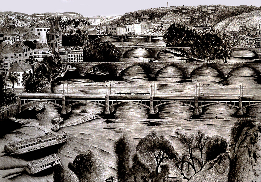 'Study of Prague and River Vltava from Letna', water colour and pen on 230g akvarel paper, 42.0 x 59.4 cm , 2014