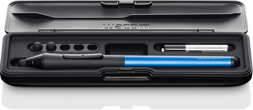 The Intuos Creative Stylus comes in a great solid case, complete with space for spare nibs (you get 2 extras with purchase) and a slot for a AAAA spare battery.