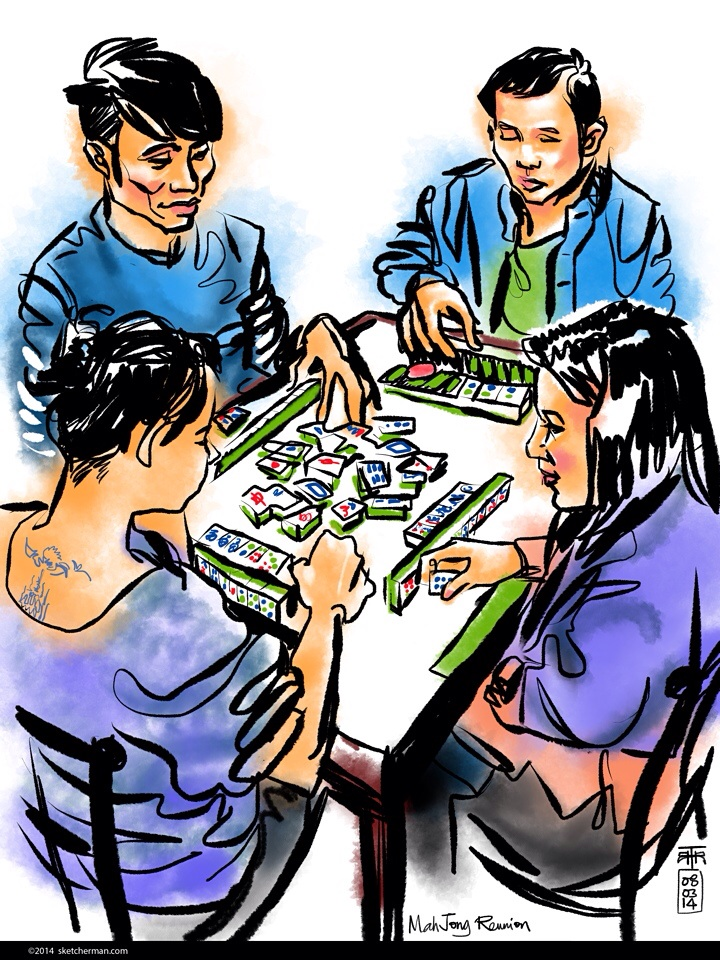 Tight schedules don't always allow a game of mahjong, so when opportunity knocks, these friends get together for a fun, noisy afternoon.