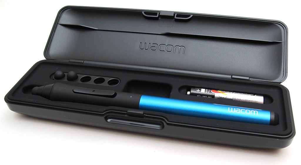 This is what you get when you order the Wacom Intuos Creative Stylus. The sleek, solid case houses the stylus itself, along with 2 extra nibs, slots for extra nibs, as well as a spot for a spare AAAA battery.