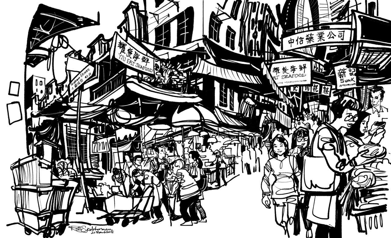 My last piece of the day. Chinese signage and little bits of line work completed at home after I was chased off by stall owners cleaning up for the day. I've decided to leave this in black and white for now.