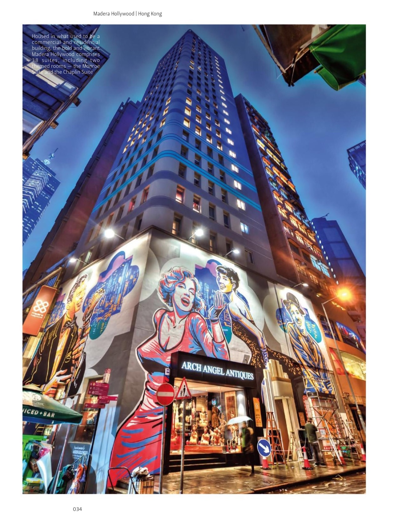 Rob's biggest (literally) project has been the mural on the facade of the Madera Hollywood, Hong Kong