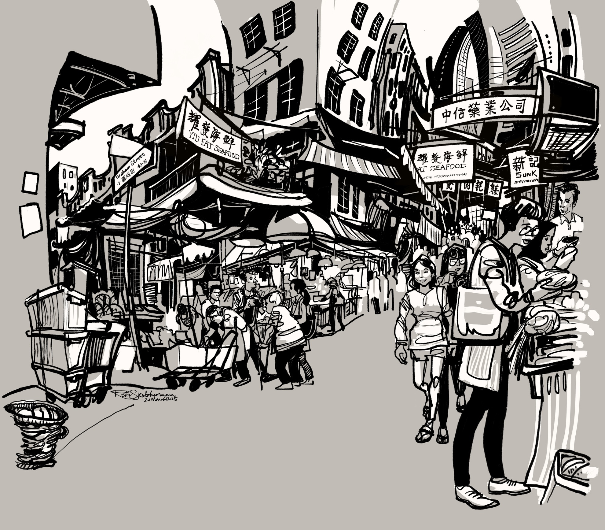 Central, Hong Kong is one of Rob's favorite spots in the city. This is a scene from the Gage Street market.