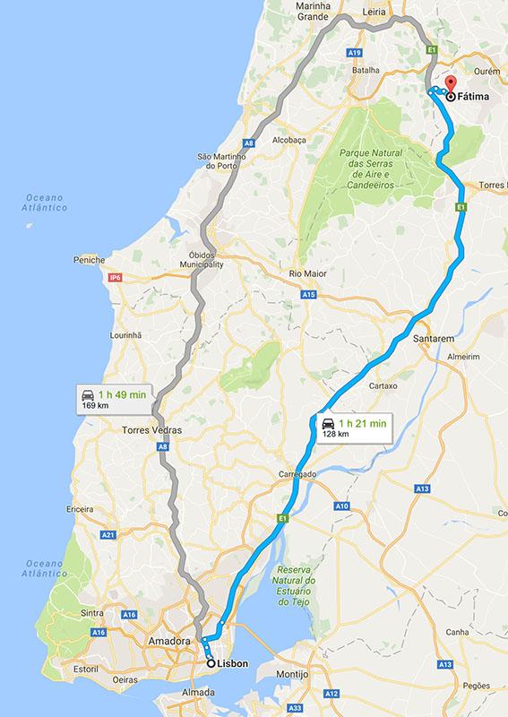 From Lisbon to Fátima : 128km (79.5m)