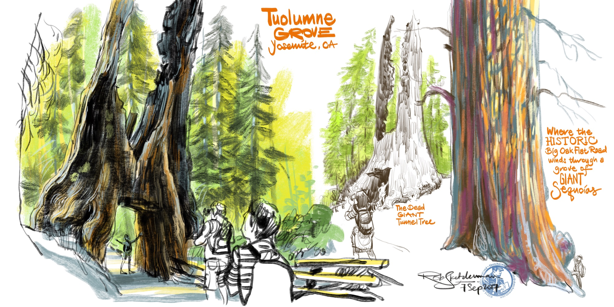 Whether you'd like to get painterly or just make line drawings, there are many ways you can compose a piece, tell a story and even add a little lettering. Yosemite National Park, California, 2017