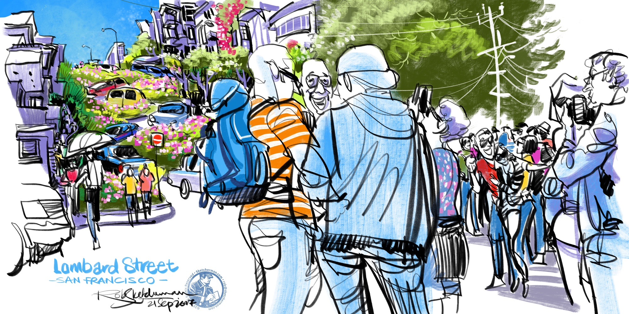 US_2017-Lombard St crowds-San Francisco-Sketcherman.jpg