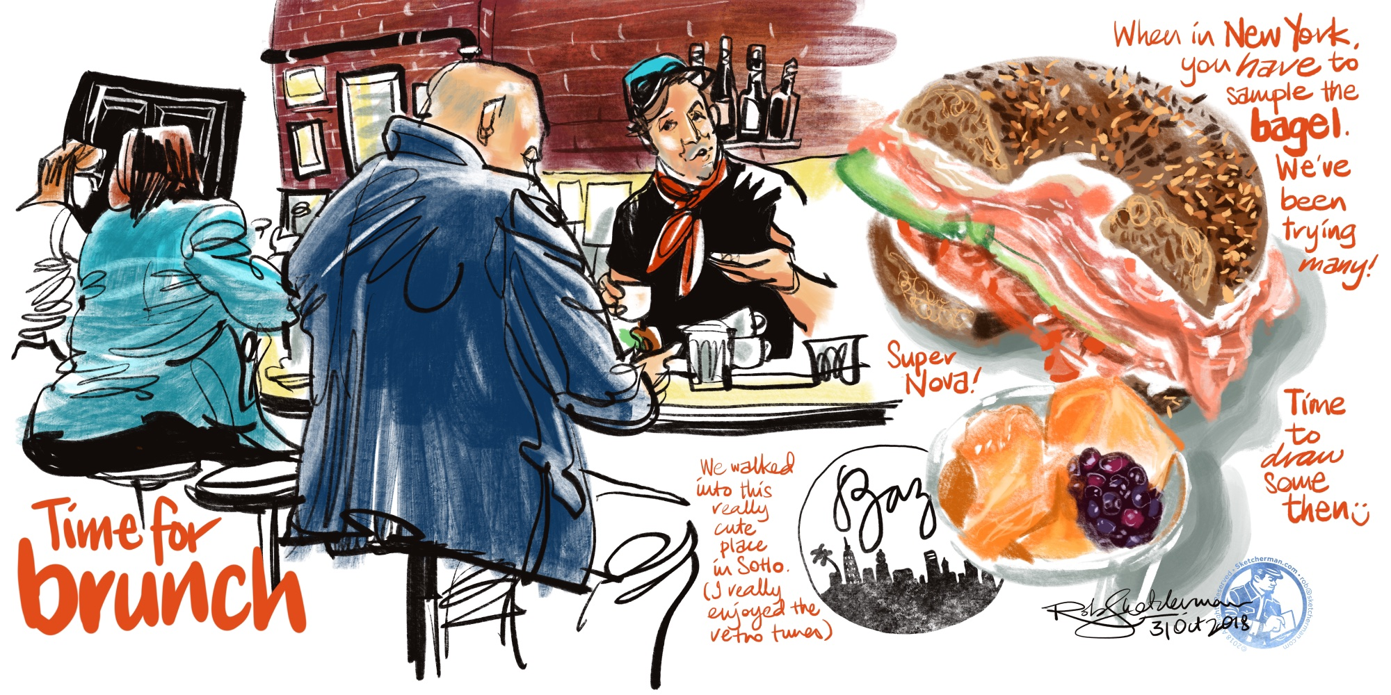 Sketching is a great way to wait for a meal to arrive. I drew the people at the counter, then added my lunch after. (That was a great bagel!)