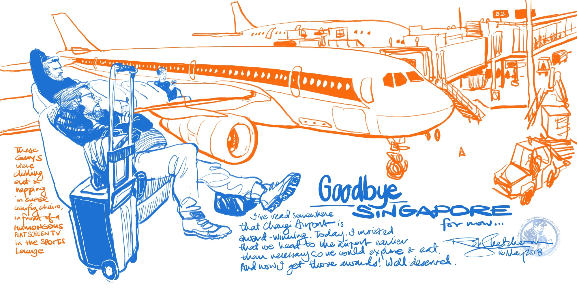 A few minutes before we had to head to the departure gate, and no time for full color. What would have been another travel blur is now a memory I can actually recall because I drew it.