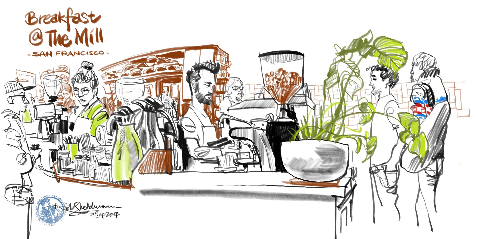 One of the best times to sketch is when you're waiting for a meal. A quick drawing can be done with just a few colored lines.