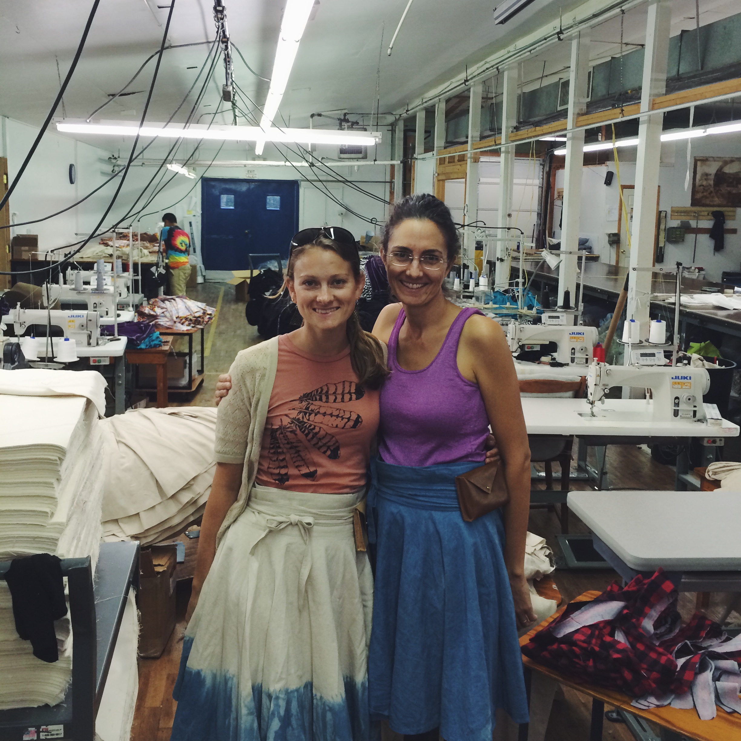 Showing Molly how to wear a Bicycle Wrap Skirt.