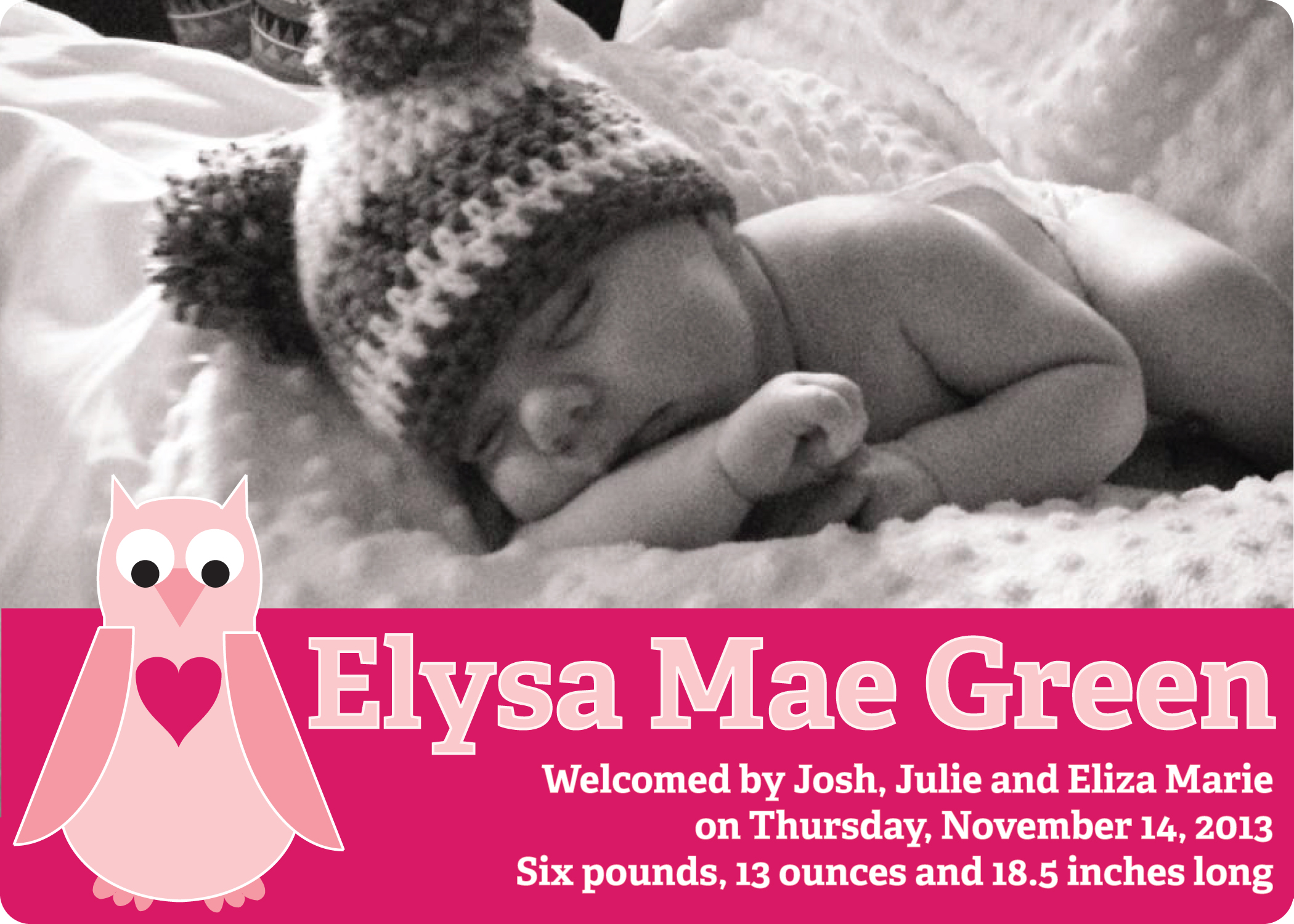 Eliza birth announcement in pink (front)