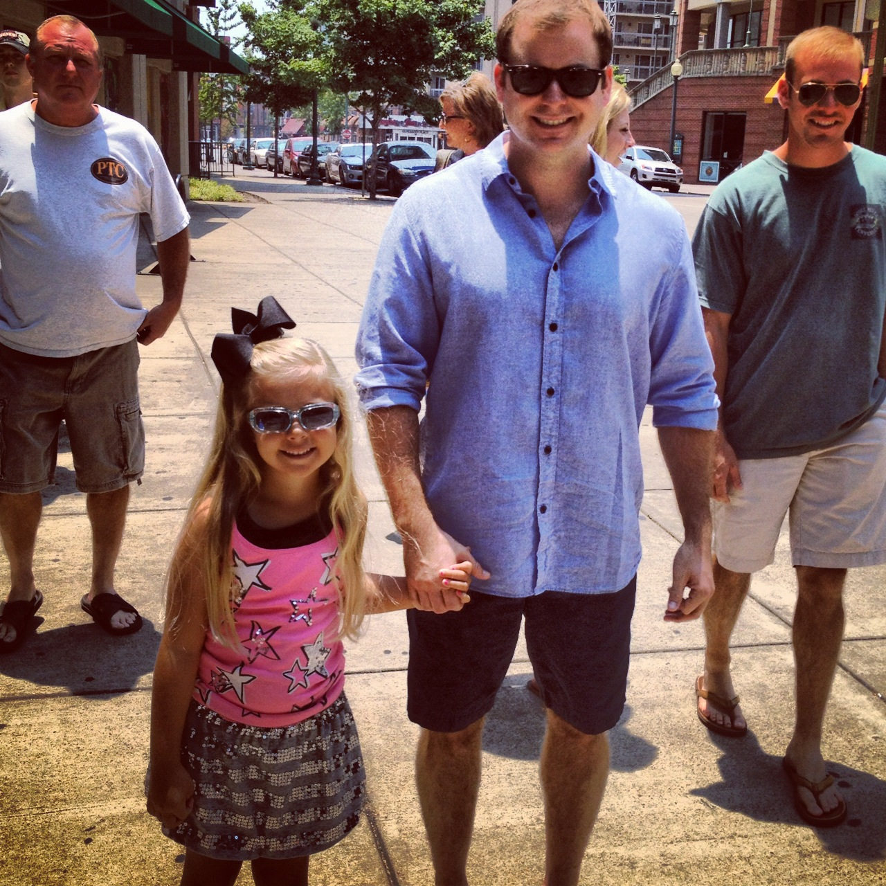 Greg, Eliza, Jonathan and Anthony celebrating Jonathan's birthday in downtown Memphis, July 2012.