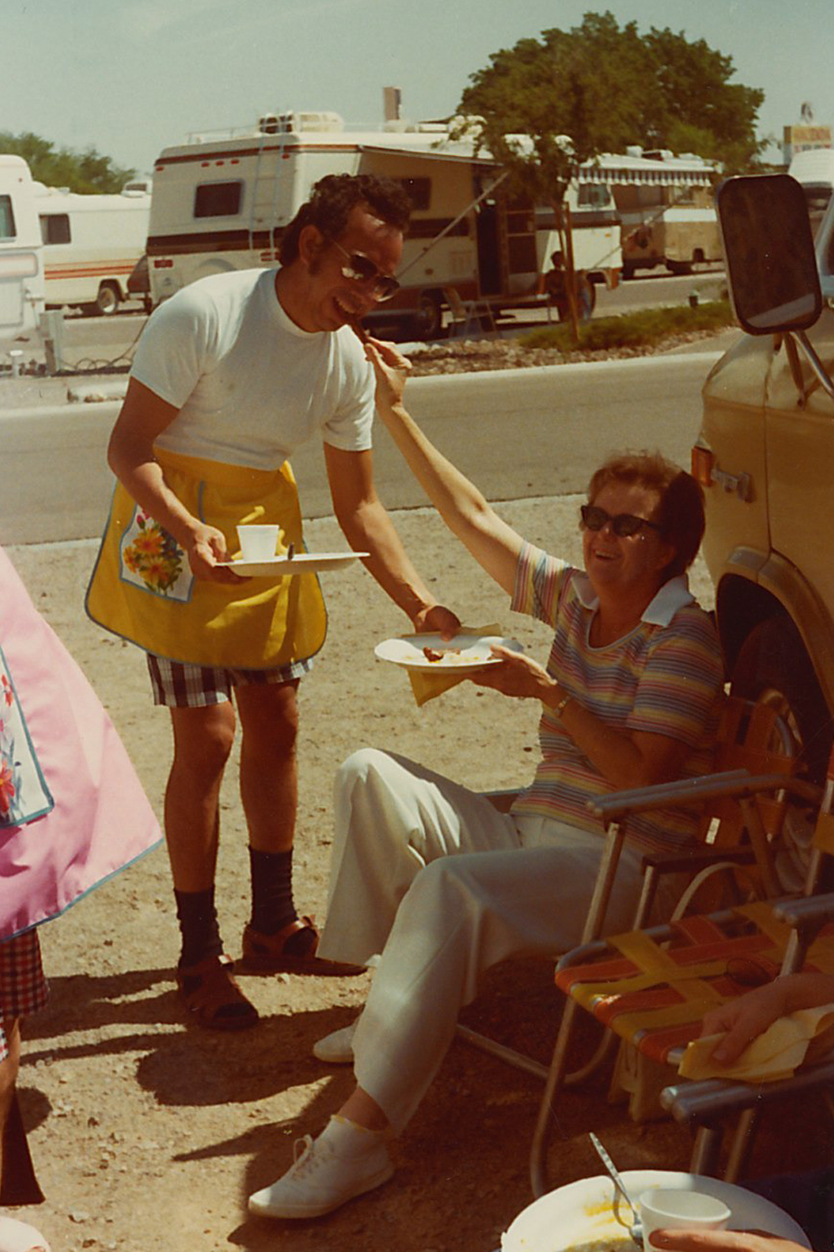 My grandpa Sid wearing a very nice apron!