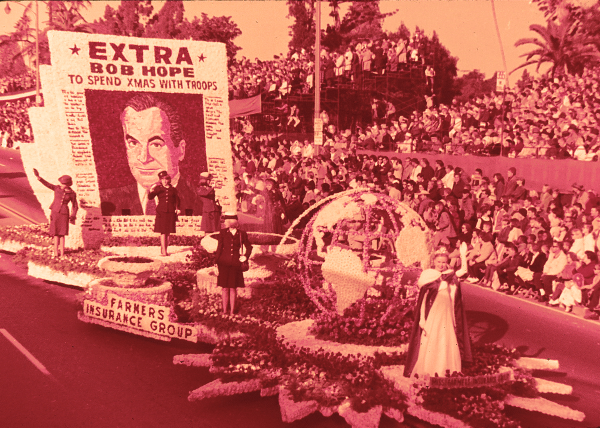The Farmers Insurance Group float featuring Bob Hope in the 1965 Tournament of Roses Parade.