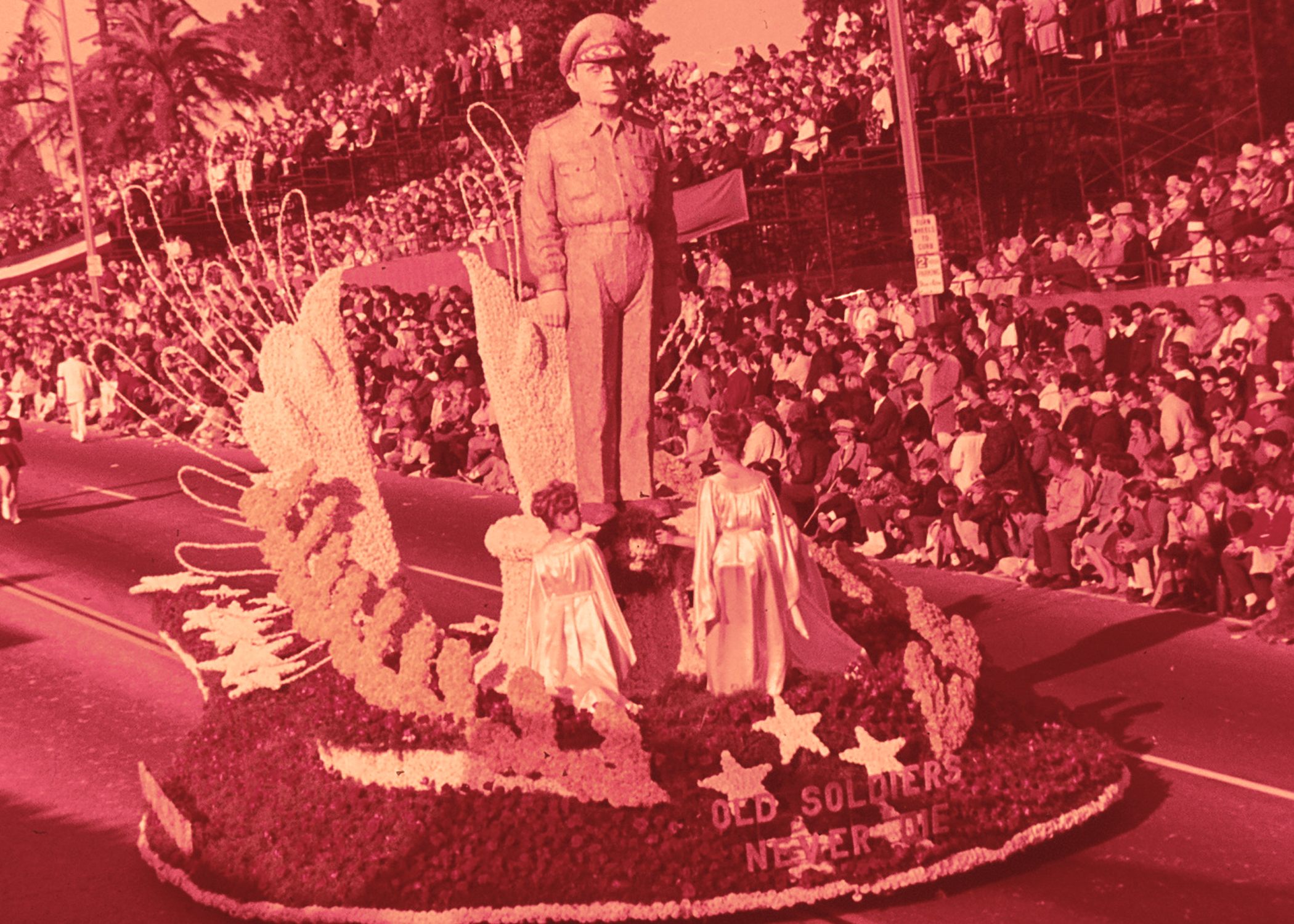 The Old Soldiers Never Die float from the 1965 Tournament of Roses Parade in Pasadena, California.