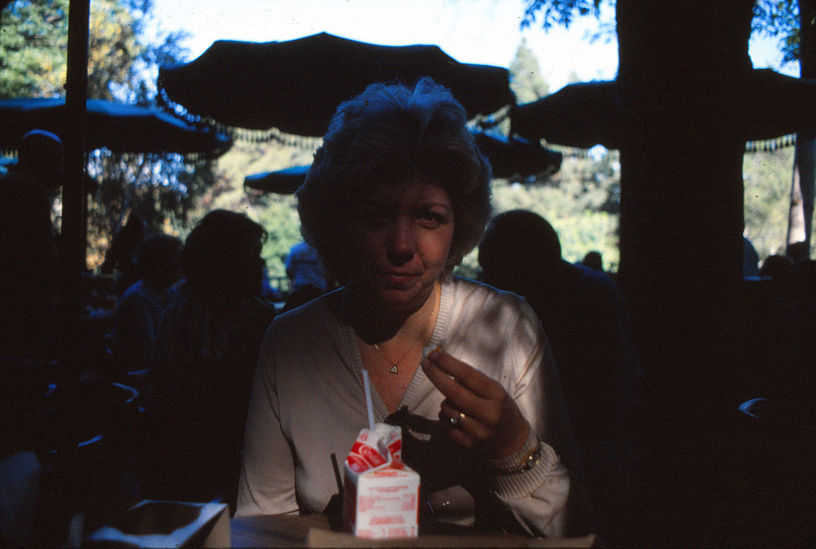 Joan at Disneyland in the late 1970s. Notice she's drinking milk!