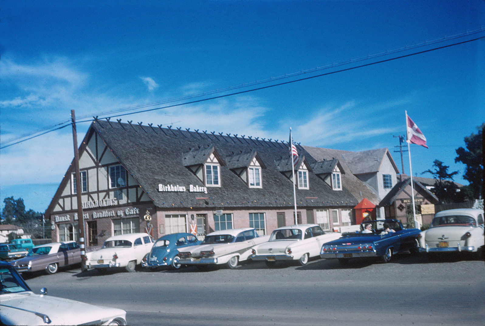 Birkholm's Bakery in Solvang, California around 1960.  This family-owned bakery  is still in operation!