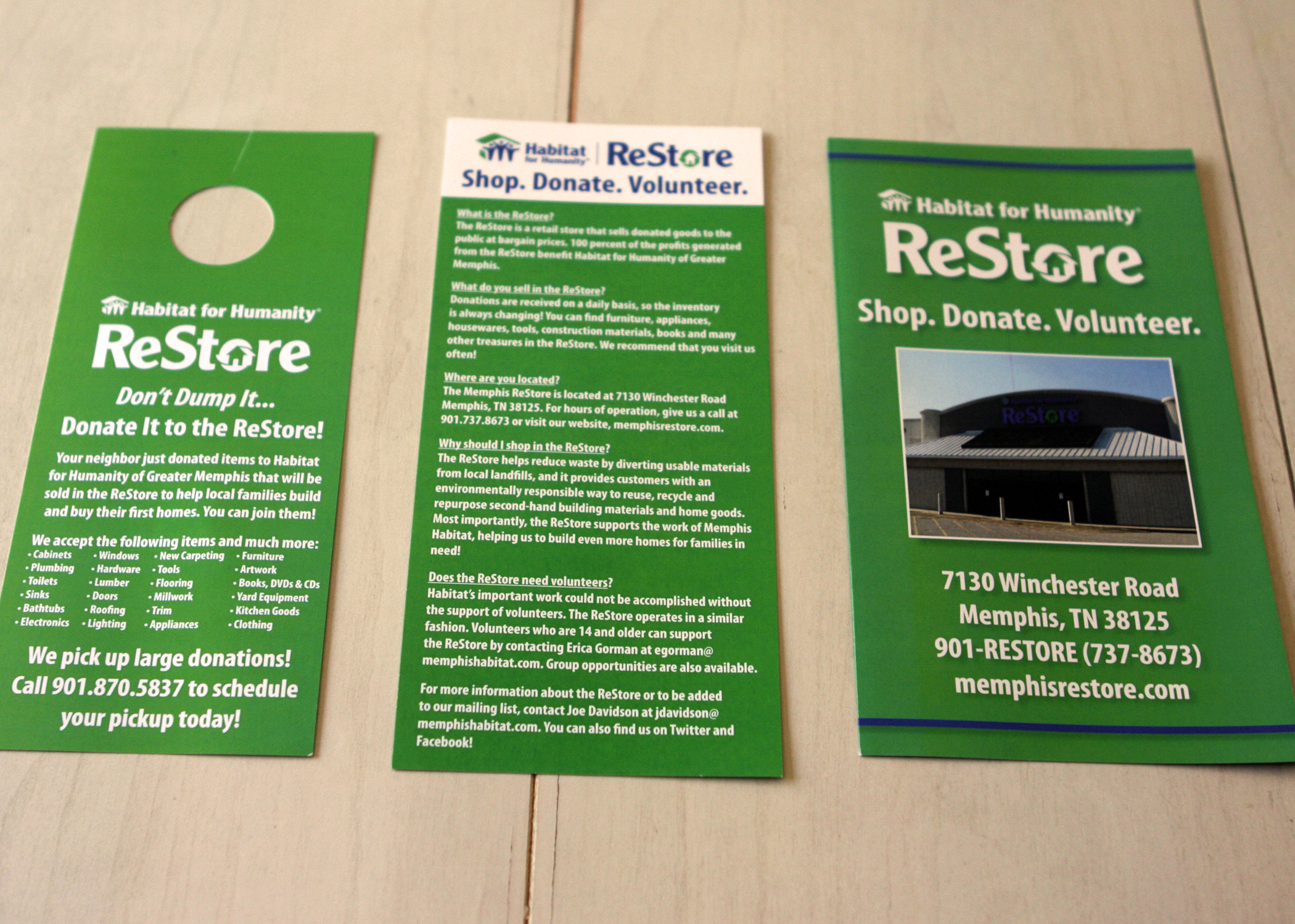 Marketing materials created for the launch of the Habitat for Humanity of Greater Memphis ReStore