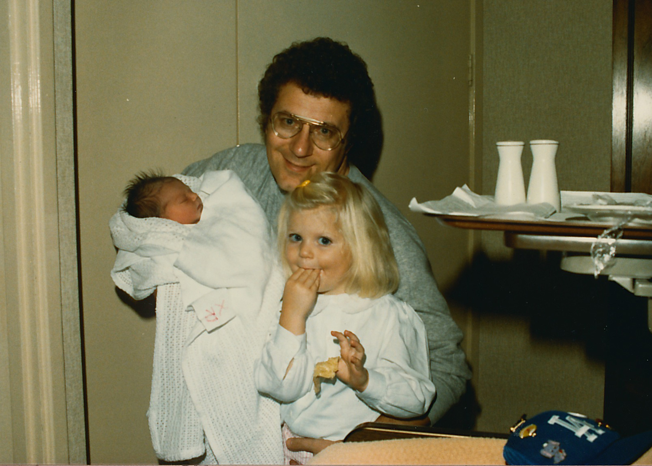 me, my dad and my sister in the hospital on Lauren's birthday. Notice my LA Dodgers hat in the foreground.