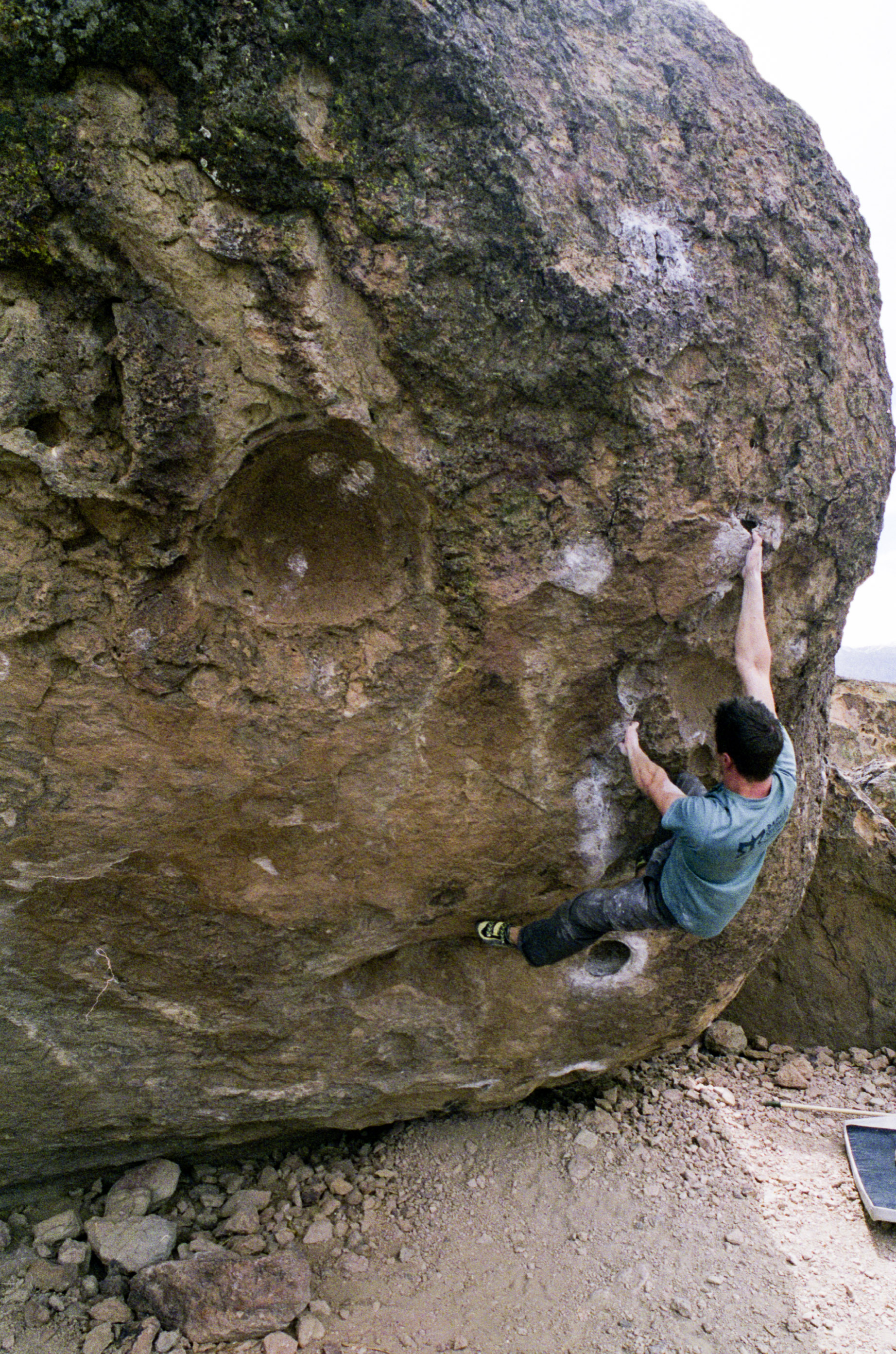 Erik N. on his ascent of Strength in Numbers, classic (and tough!) V5 located in the Sad's