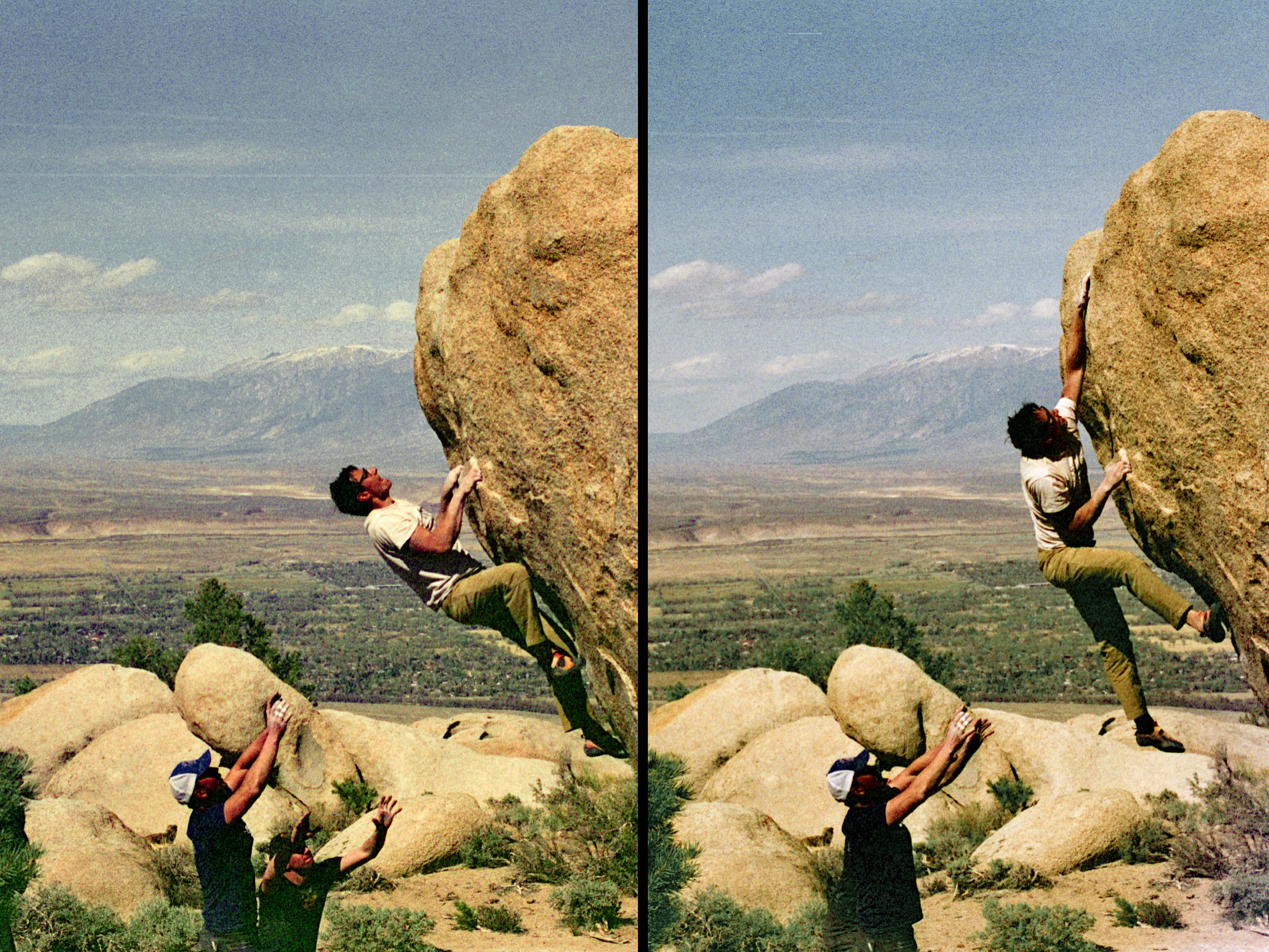 Sequence shot of Erik throwing for the hand-sized pocket-jug at the top of Arch Drude, V5, at the Druid Stones