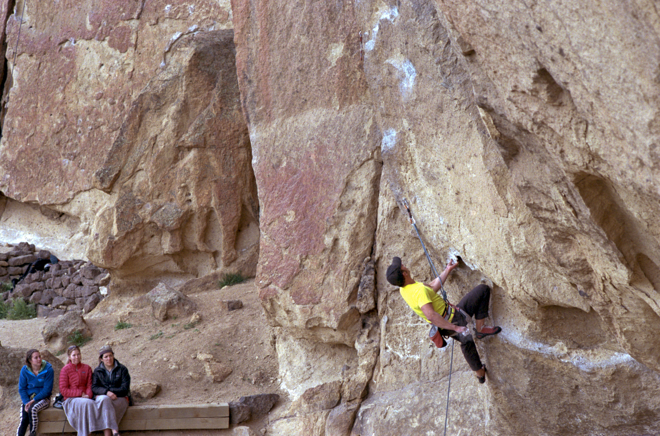 Ryan midway through Heresy, 5.11c at Smith Rock State Park