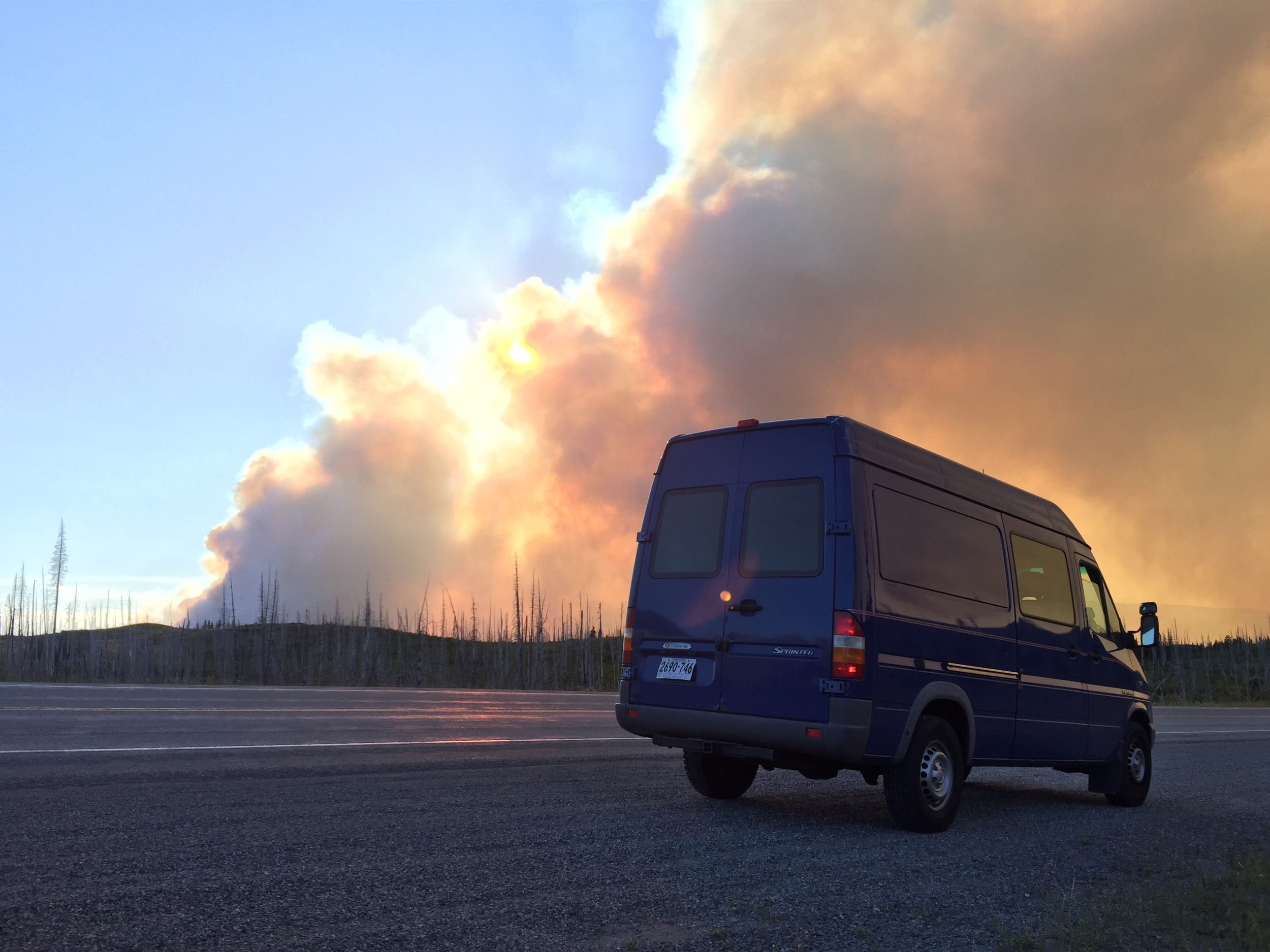 Approaching the wild fire raging at Glacier National Park