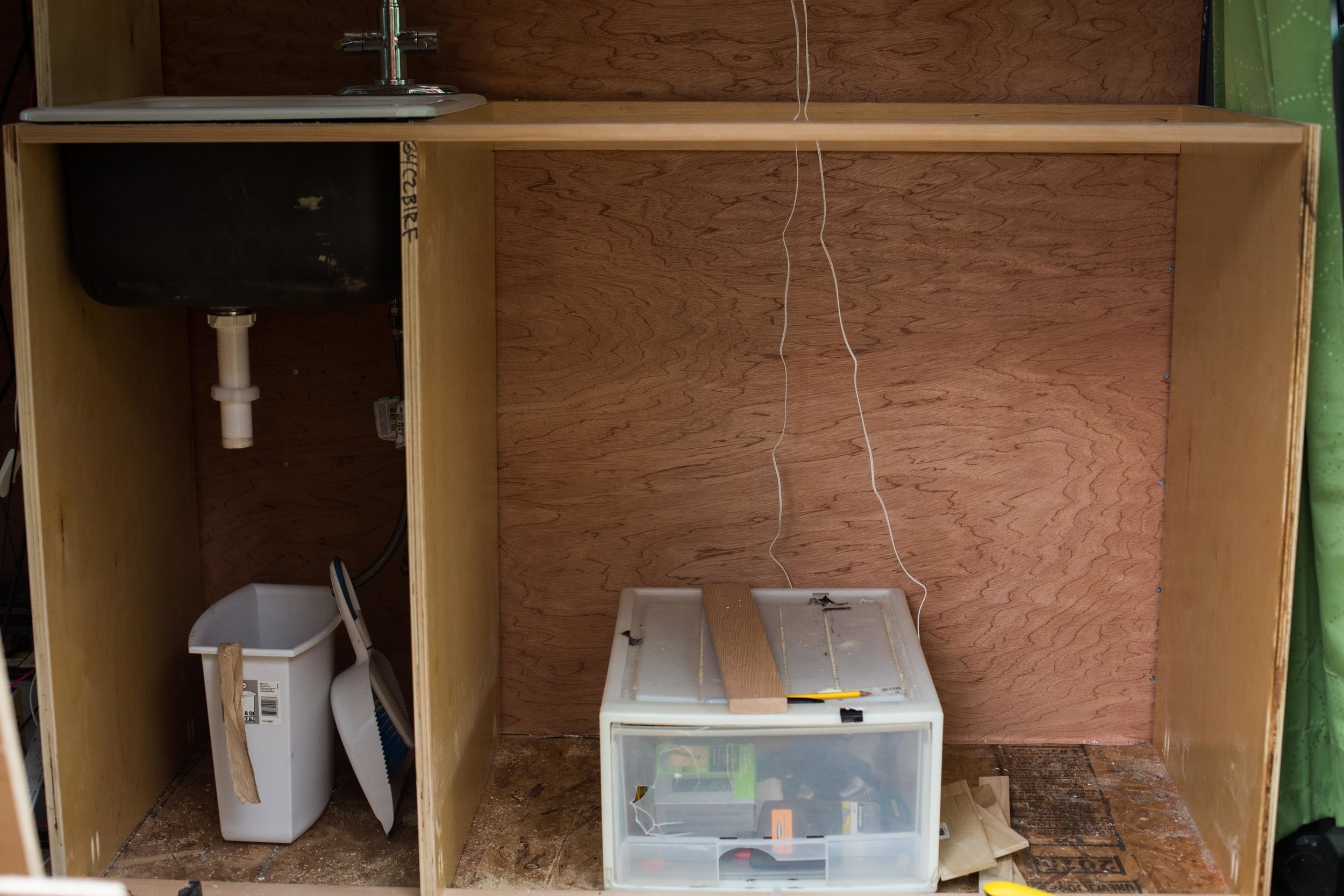 Kitchen cabinet frame with the sides and stabilizing boards