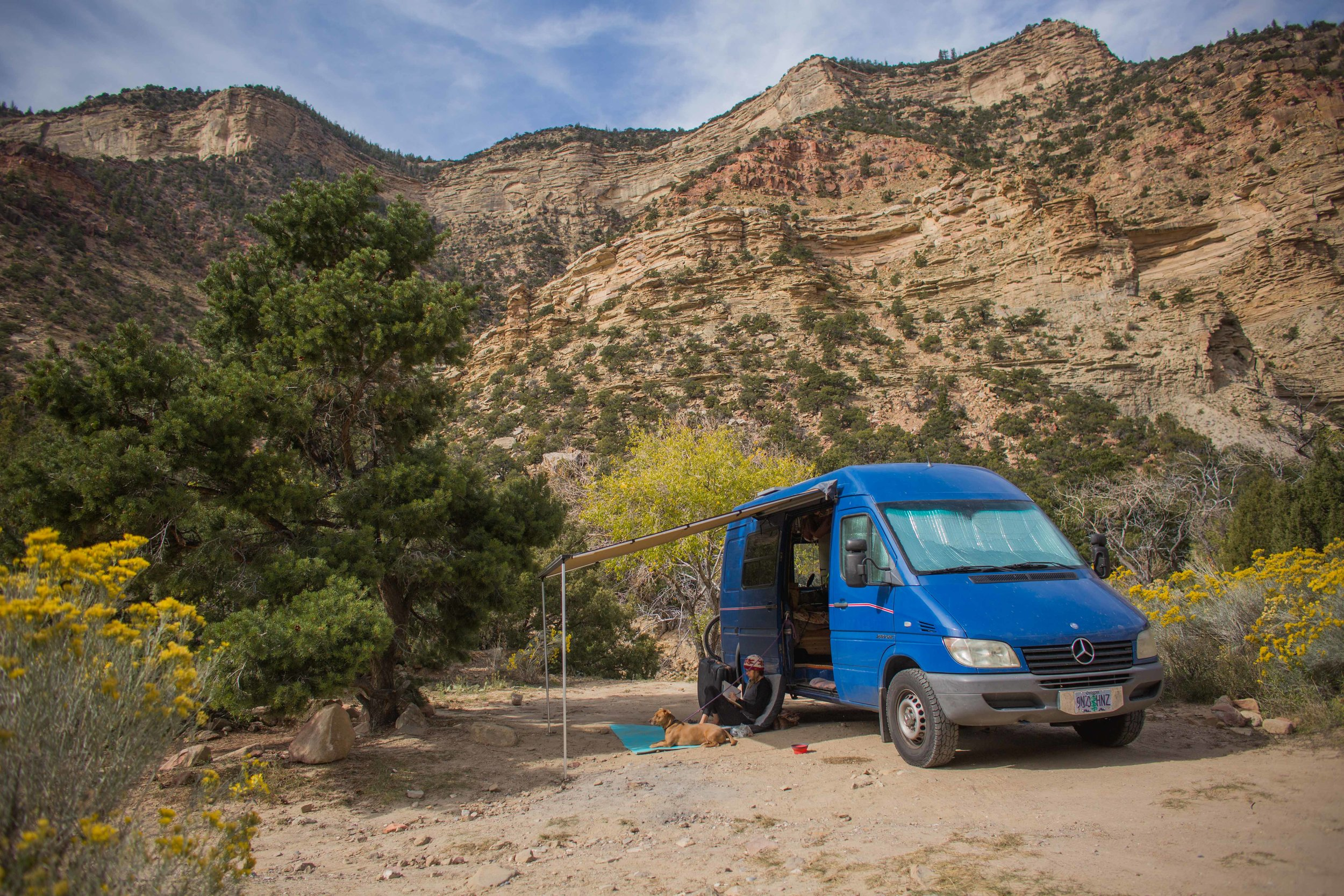 Enjoying the shade of the Arb awning. You can also see the window coverings. Taken in Joe's Valley, Utah