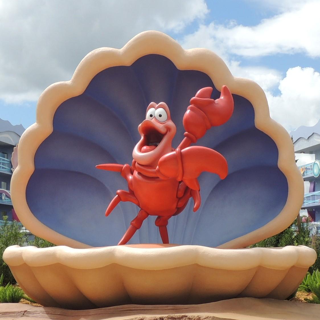 Sebastian, from the Little Mermaid, at Disney's Art of Animation Resort at Disney World.