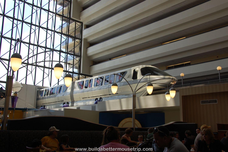 Disney's Contemporary Resort Photos & Information - The monorail runs through the Grand Canyon Concourse, right over the Contempo Cafe