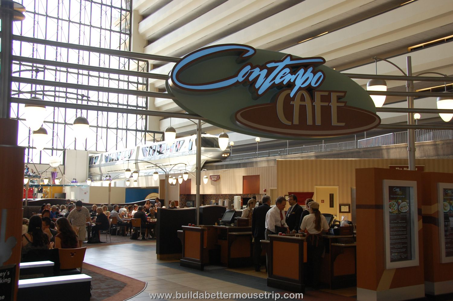 Contempo Cafe - you can watch the monorail glide by at this food court at Disney's Contemporary Resort at Disney World.