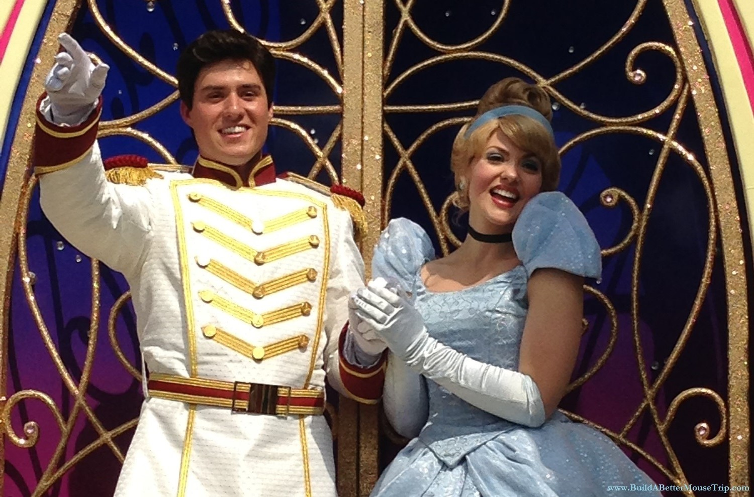 Cinderella and Prince Charming in the Festival of Fantasy Parade in the Magic Kingdom at Disney World.