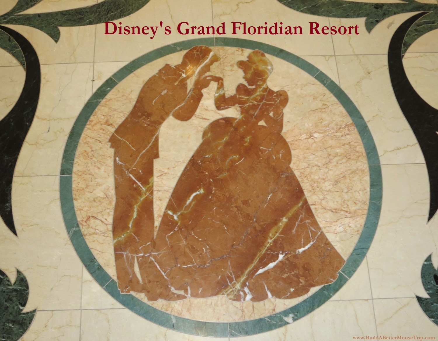 Cinderella & Prince Charming in the marble inlaid floors at Disney's Grand Floridian Resort at Disney World.