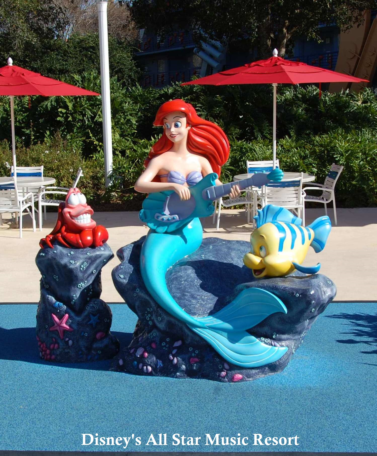 Little Mermaid Sculpture by the Piano Pool at Disney's All-Star Music Resort at Disney World
