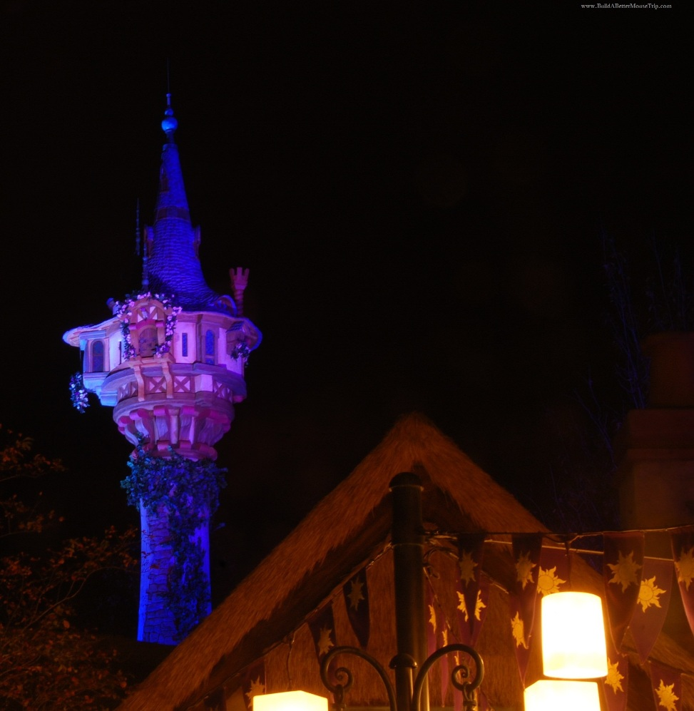 Rapunzel's tower in the Tangled area of Fantasyland in the Magic Kingdom at Disney World.