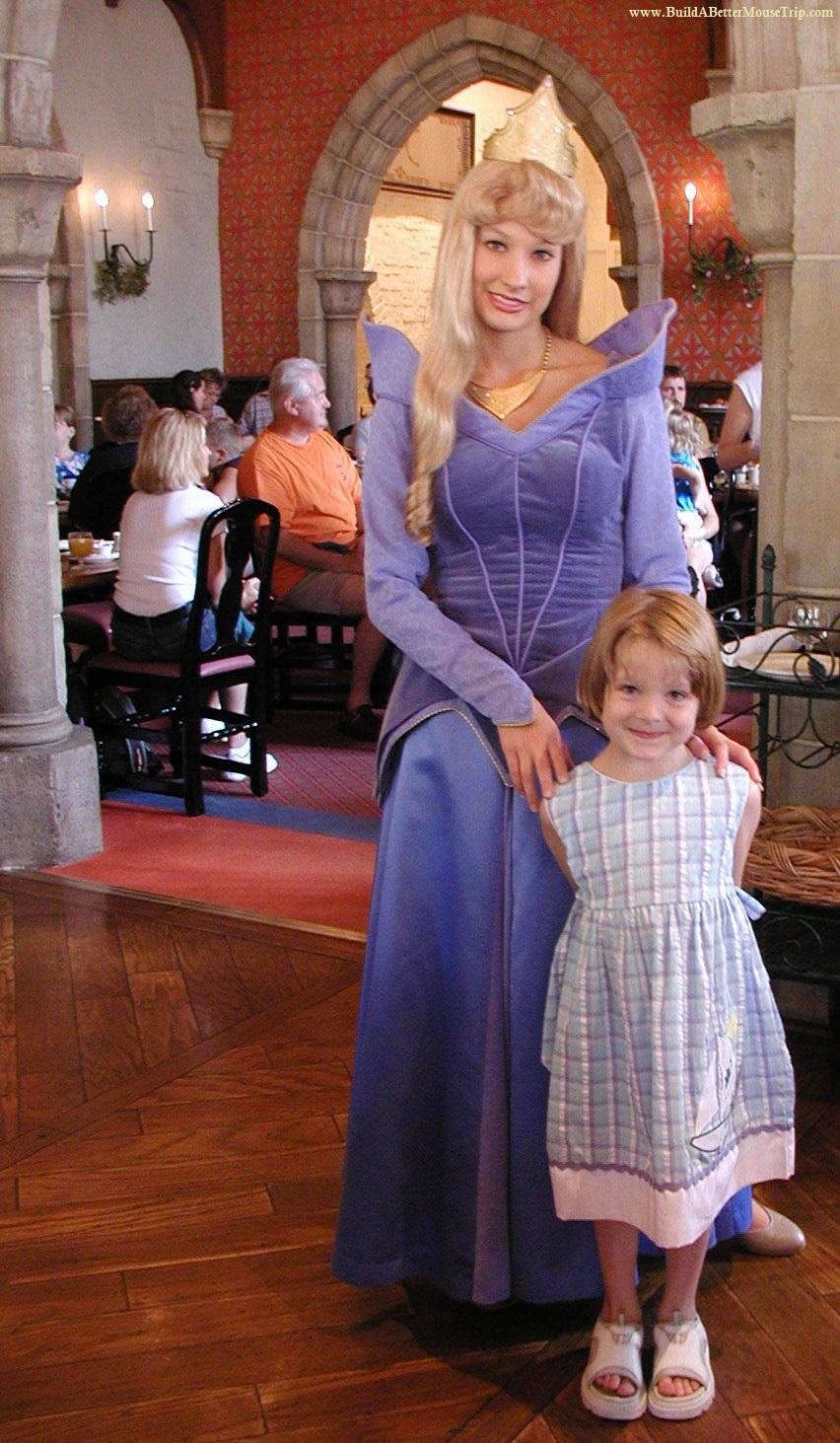 Aurora (Sleeping Beauty) at the Disney Princess Storybook Breakfast at Akershus Royal Banquet Hall in Epcot