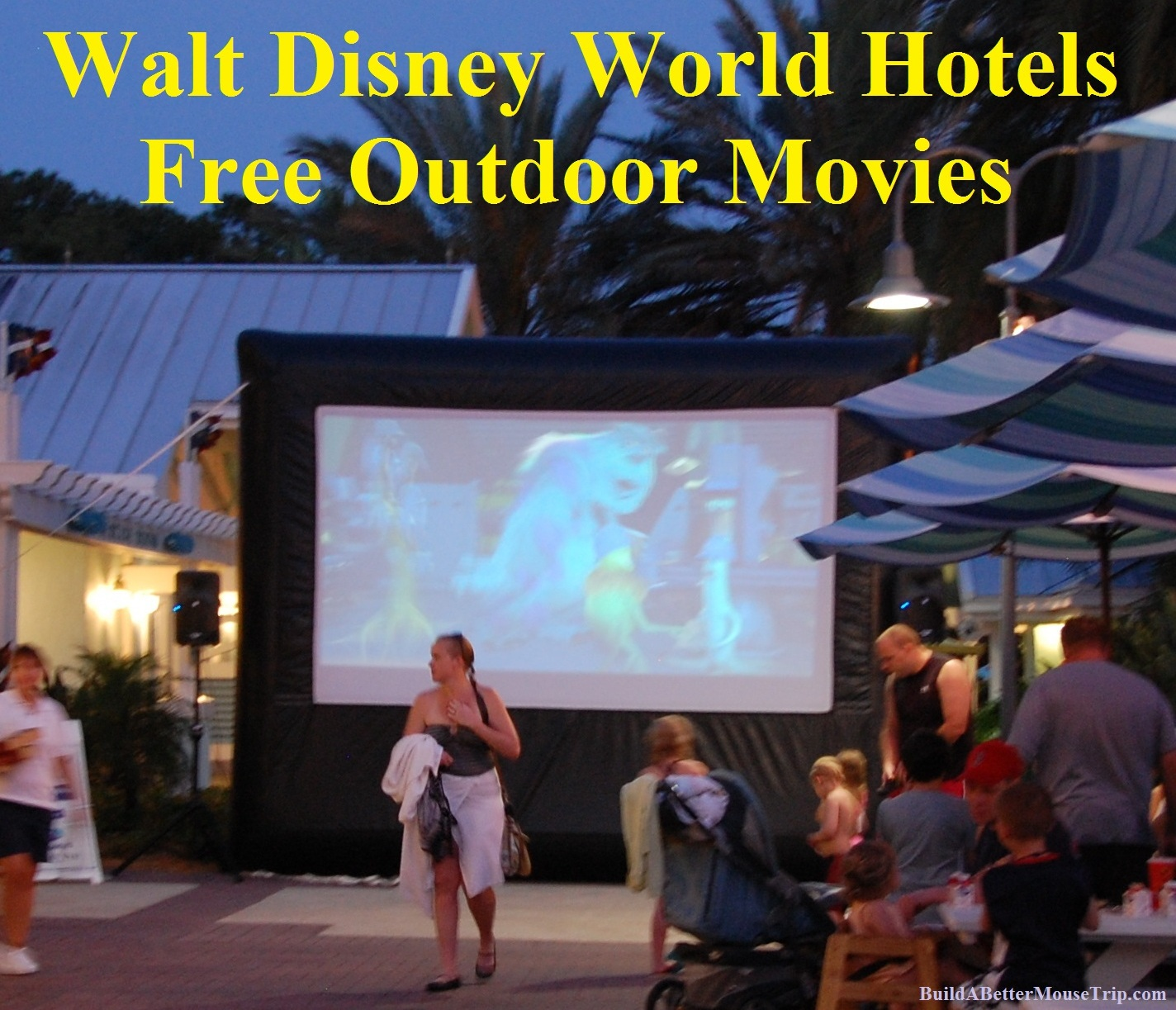 Free Movie Under the Stars at the Walt Disney World Resort hotels. For the current movie schedule, see: http://www.buildabettermousetrip.com/wdw-outdoor-movie-schedule/
