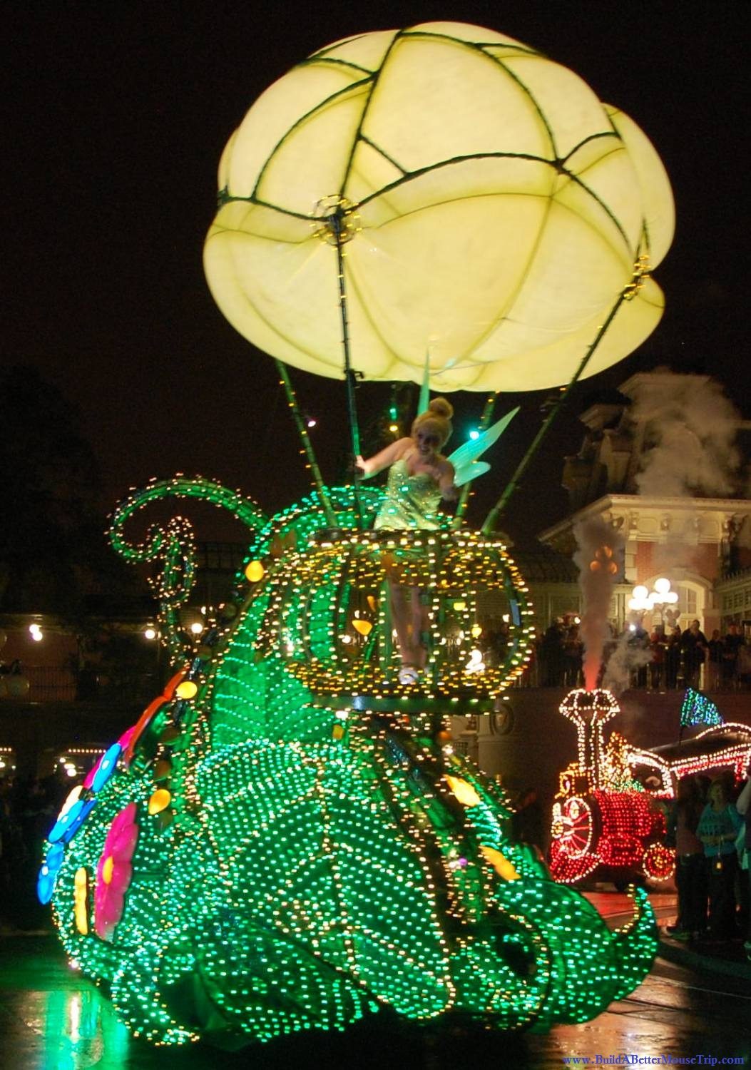 Tips for seeing Tinker Bell at Disney World - TinkerBell Float in the Main Street Electrical Parade in the Magic Kingdom .