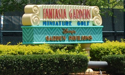 Information about Miniature Golf at Disney World. You get 2 vouchers to play free before 4PM with your Disney World vacation package. (Photo: Fantasia Gardens miniature golf at Disney World)