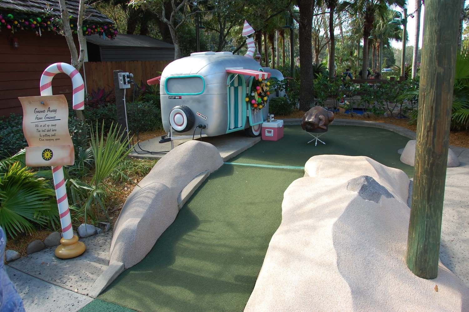 Christmas themed miniature golf course at Disney World in Florida.