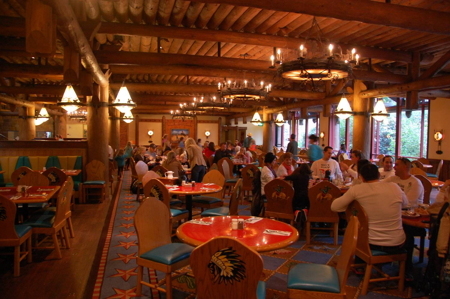 A view inside Whispering Canyon, a restaurant at Disney's Wilderness Lodge hotel.