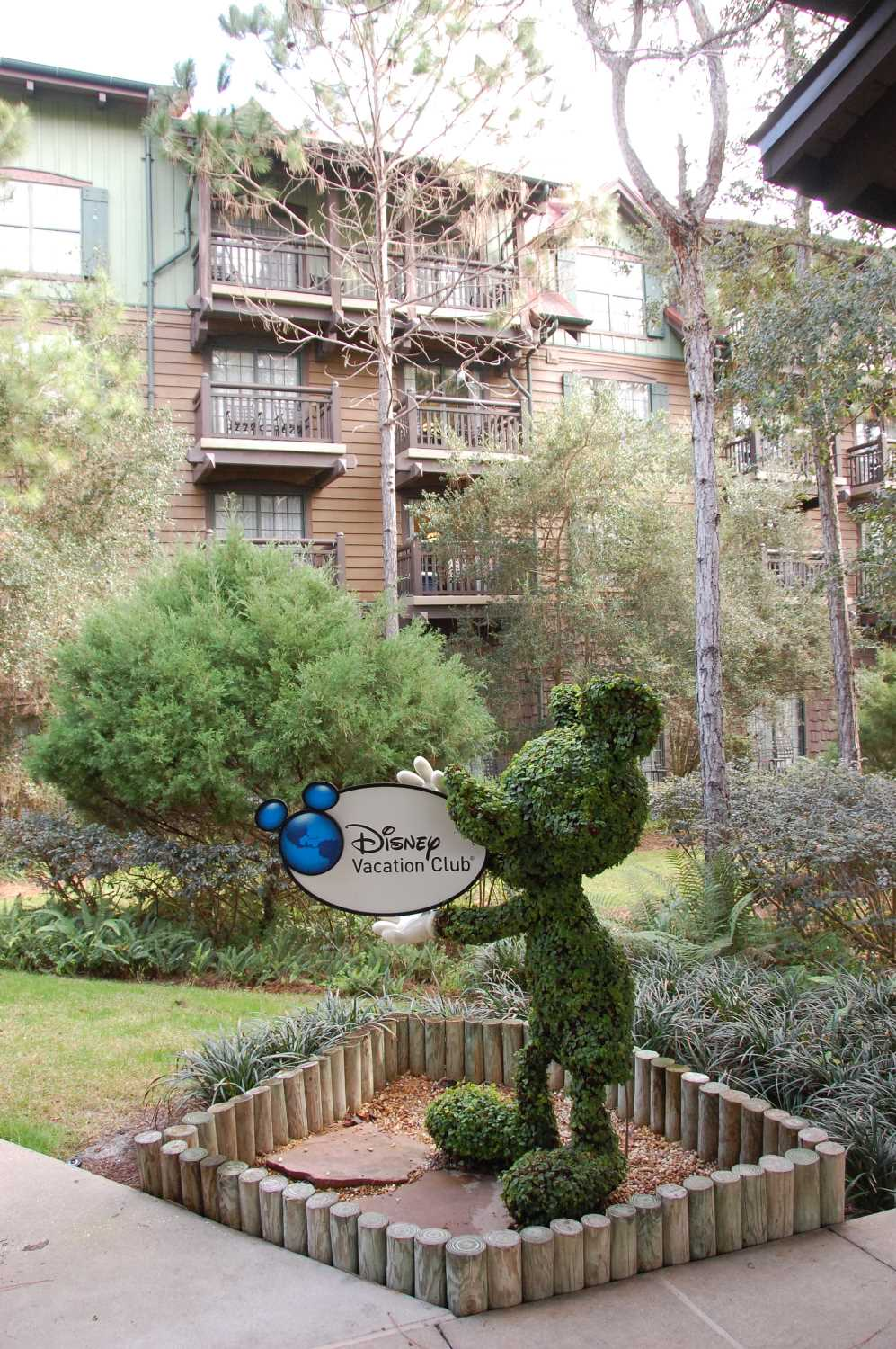 Mickey Mouse topiary at the Villas at Disney's Wilderness Lodge - Disney World.
